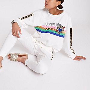 """Weißes, besticktes Sweatshirt """"une vie"""""""
