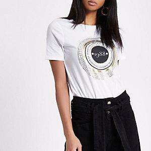 """Weißes T-Shirt """"1988"""" mit kurzen Ärmeln"""
