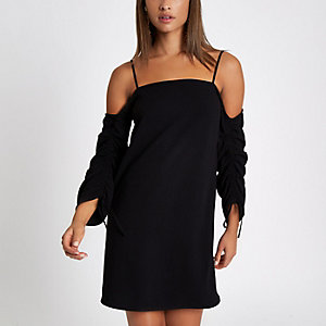 Black bardot swing dress