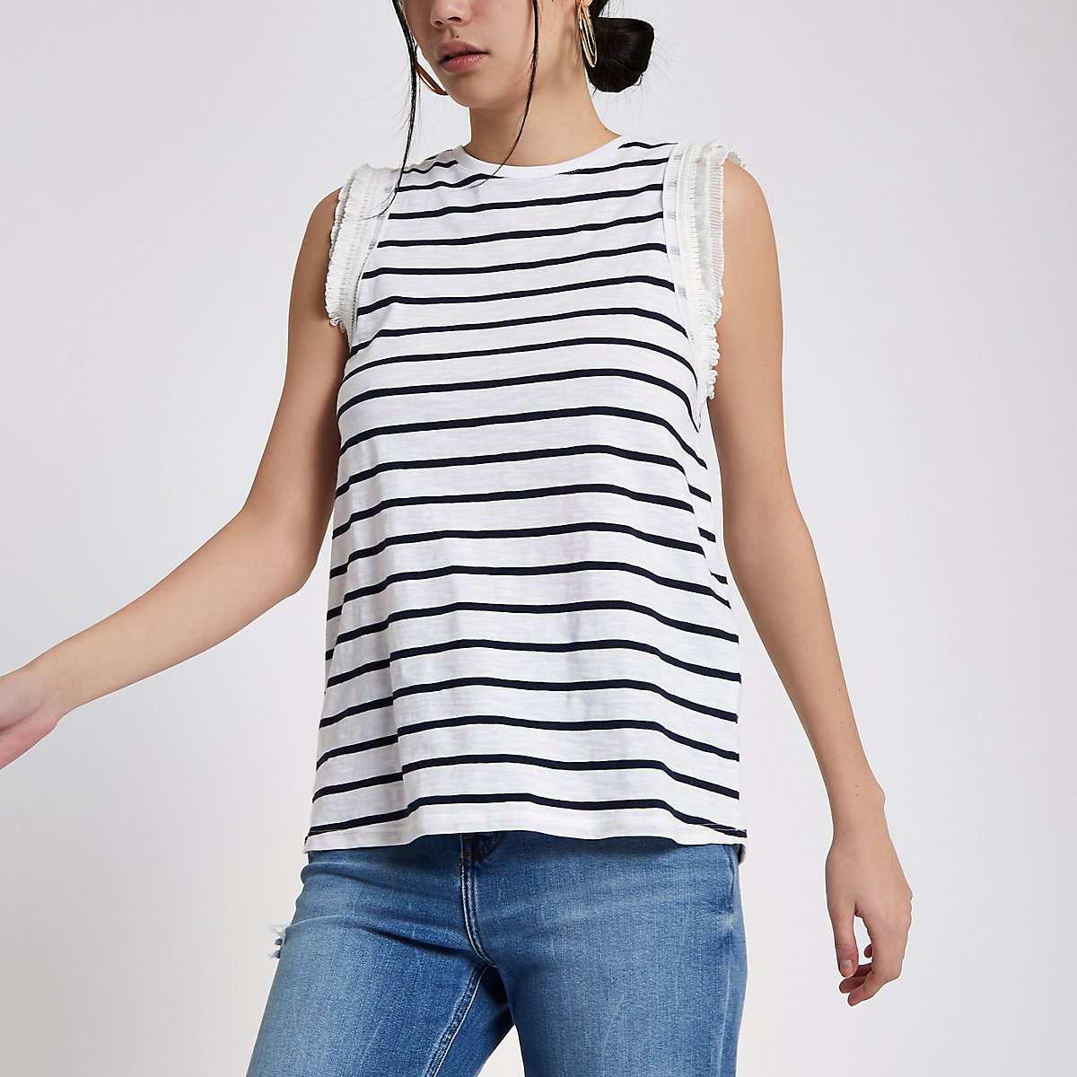 White stripe frill sleeve tank top
