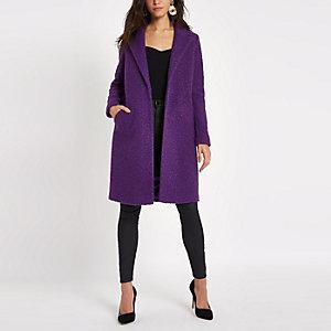 Manteau en maille bouclée violet