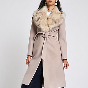 Cream belted faux fur belted wool coat