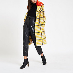 Yellow check faux fur collar coat