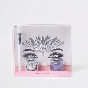 Primar silver gem and glitter makeup set