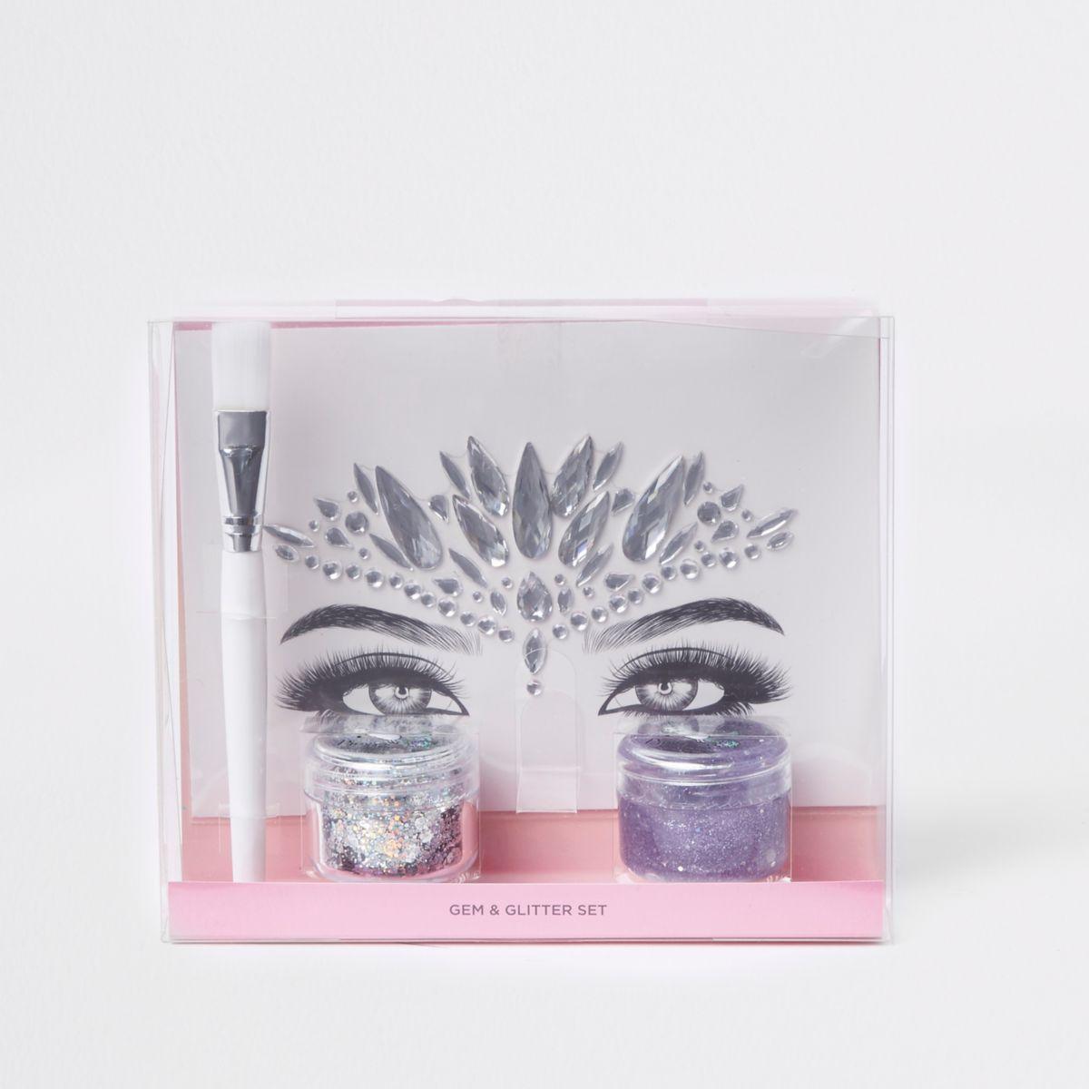 Prima silver gem and glitter makeup set