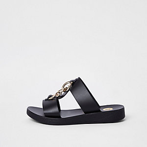 Black double link chain mules