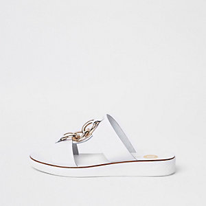 White chain mule sandals