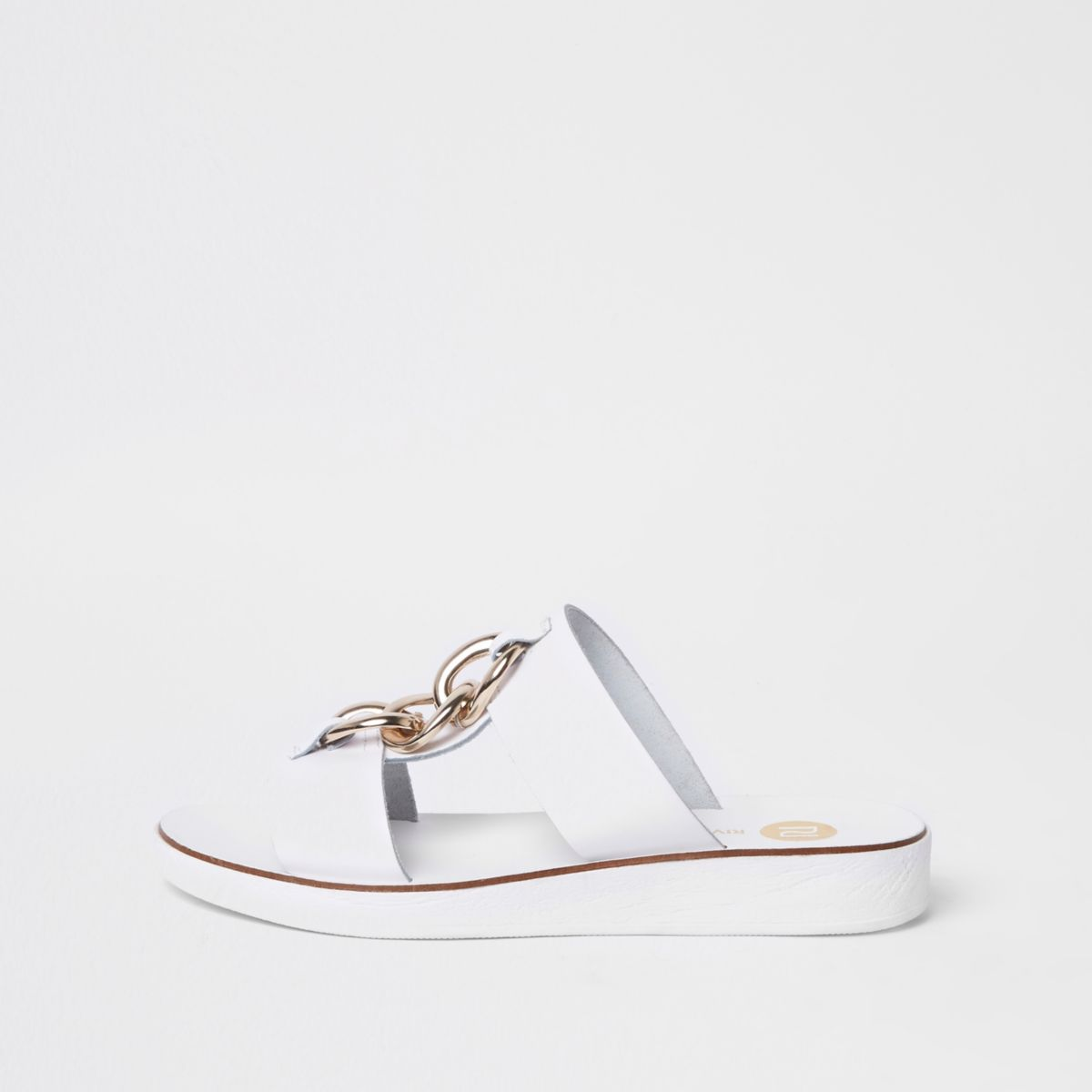 White leather chain mule sandals