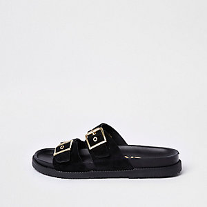 Black double buckle mule sandals