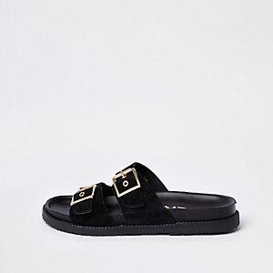 Black double buckle mule sandals