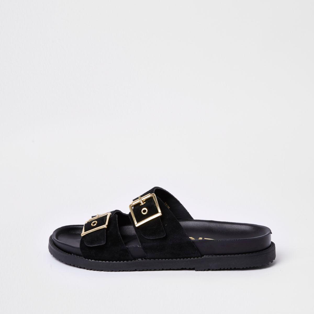 Schwarze Sandalen mit doppelter Schlange