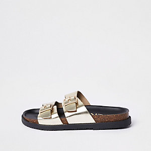 Gold double buckle mule sandals