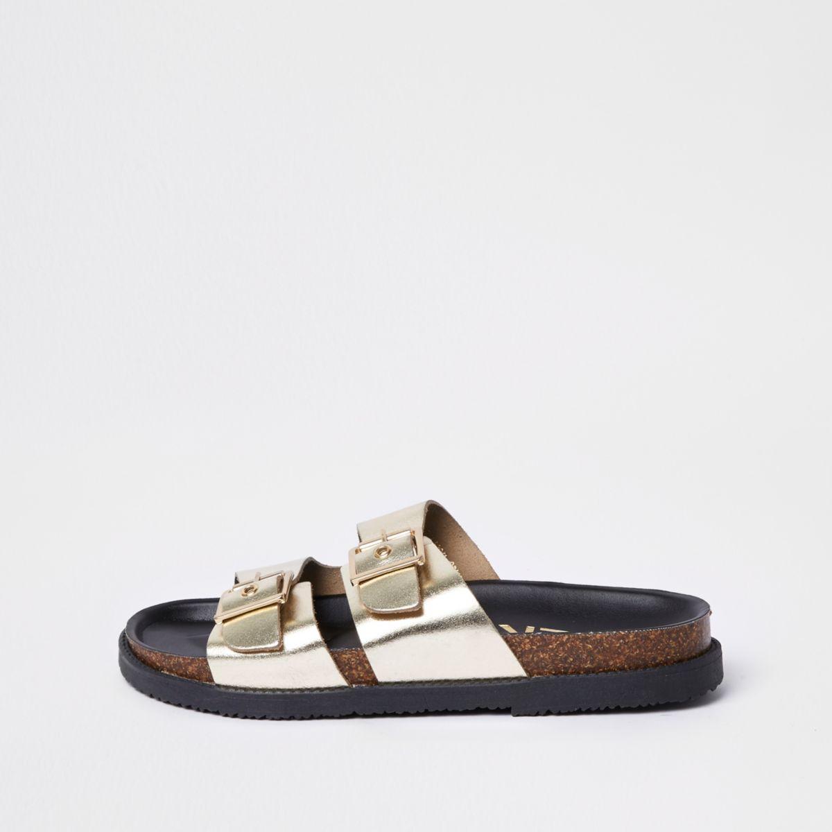 Gold double buckle mule sandals