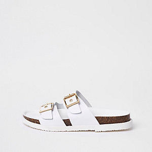 White double buckle mule sandals