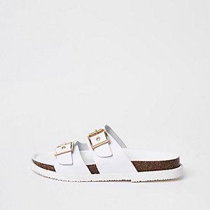White double buckle mule sandals
