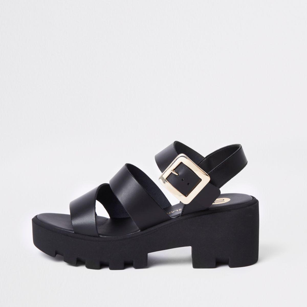 Black chunky sandals
