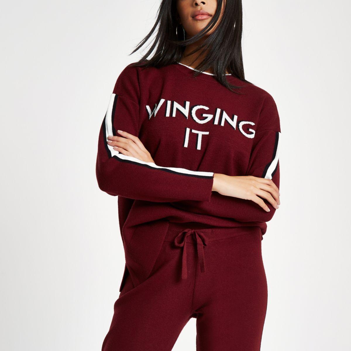 Red 'winging it' knit sweat jumper