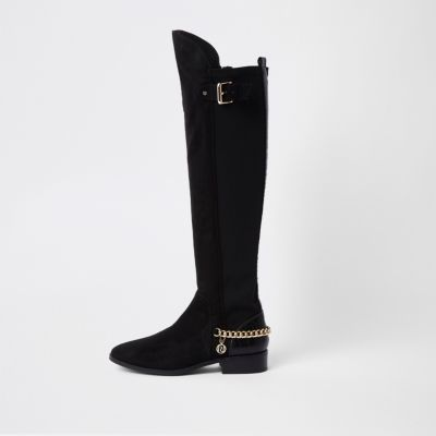 Black Over The Knee Chain Boots by River Island