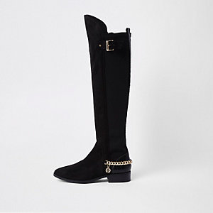 Black wide fit over the knee chain boots