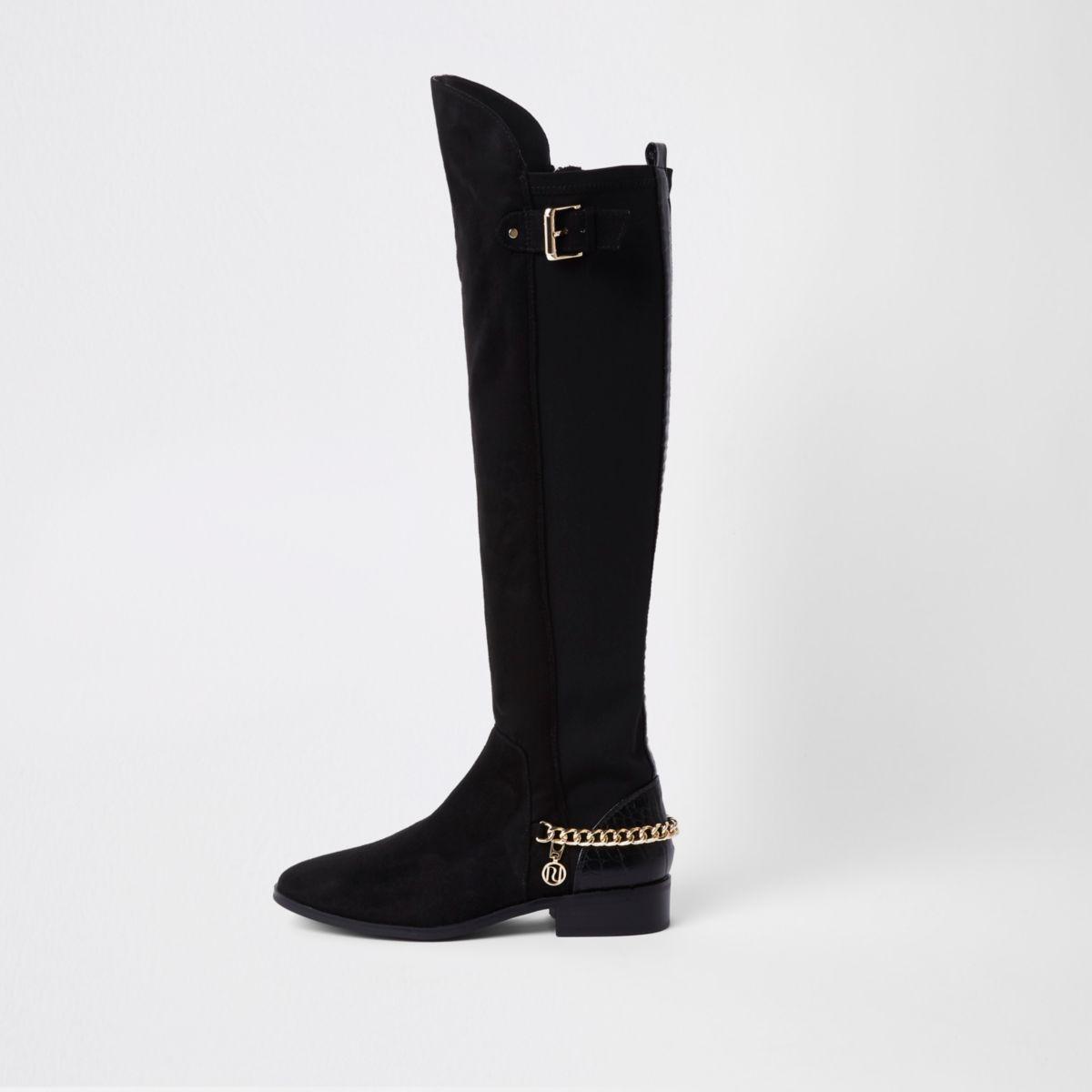 Zwarte over-de-knie-laarzen met ketting en brede pasvorm
