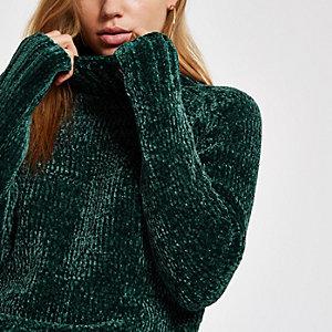 Dunkelgrüner Chenille-Pullover
