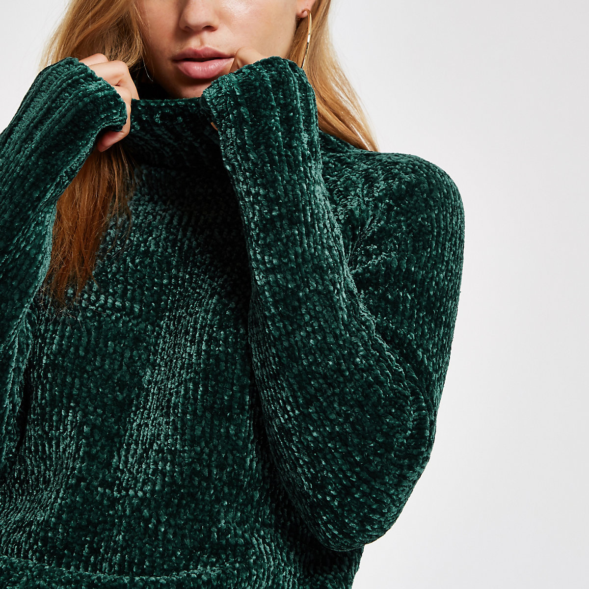 Dark green knit chenille sweater