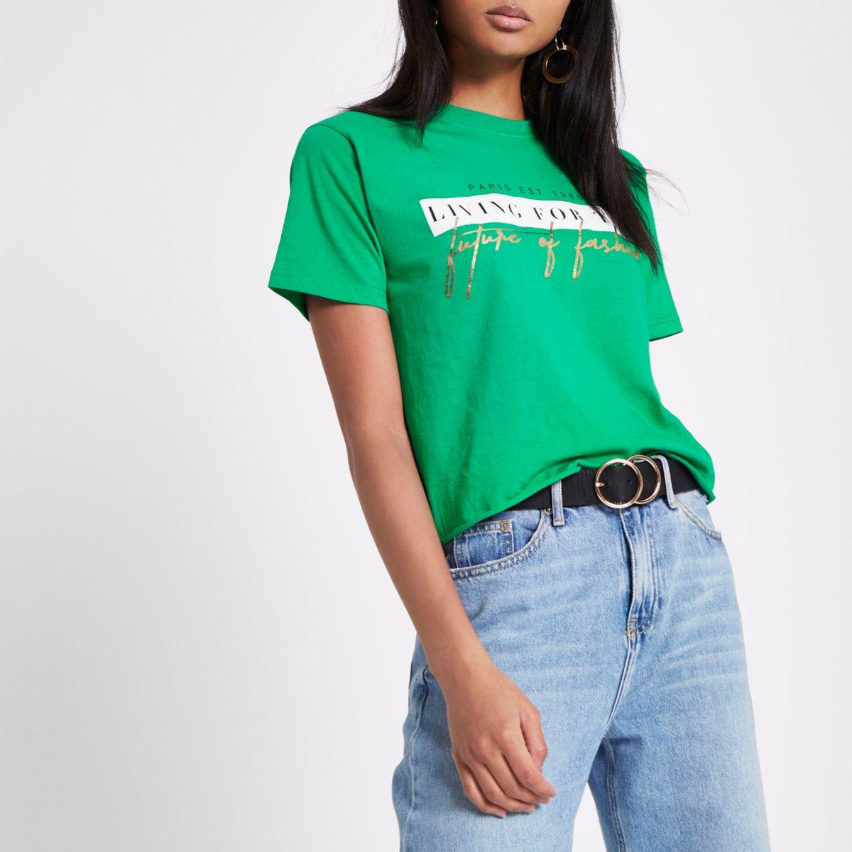 Groen cropped T-shirt met 'Future of Fashion'-print