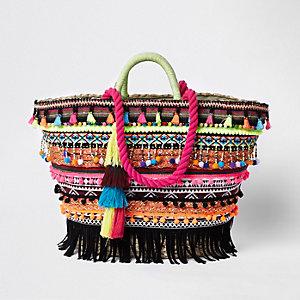 Rosa Shopper-Tasche mit Quasten
