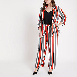 Plus red stripe wide leg pants
