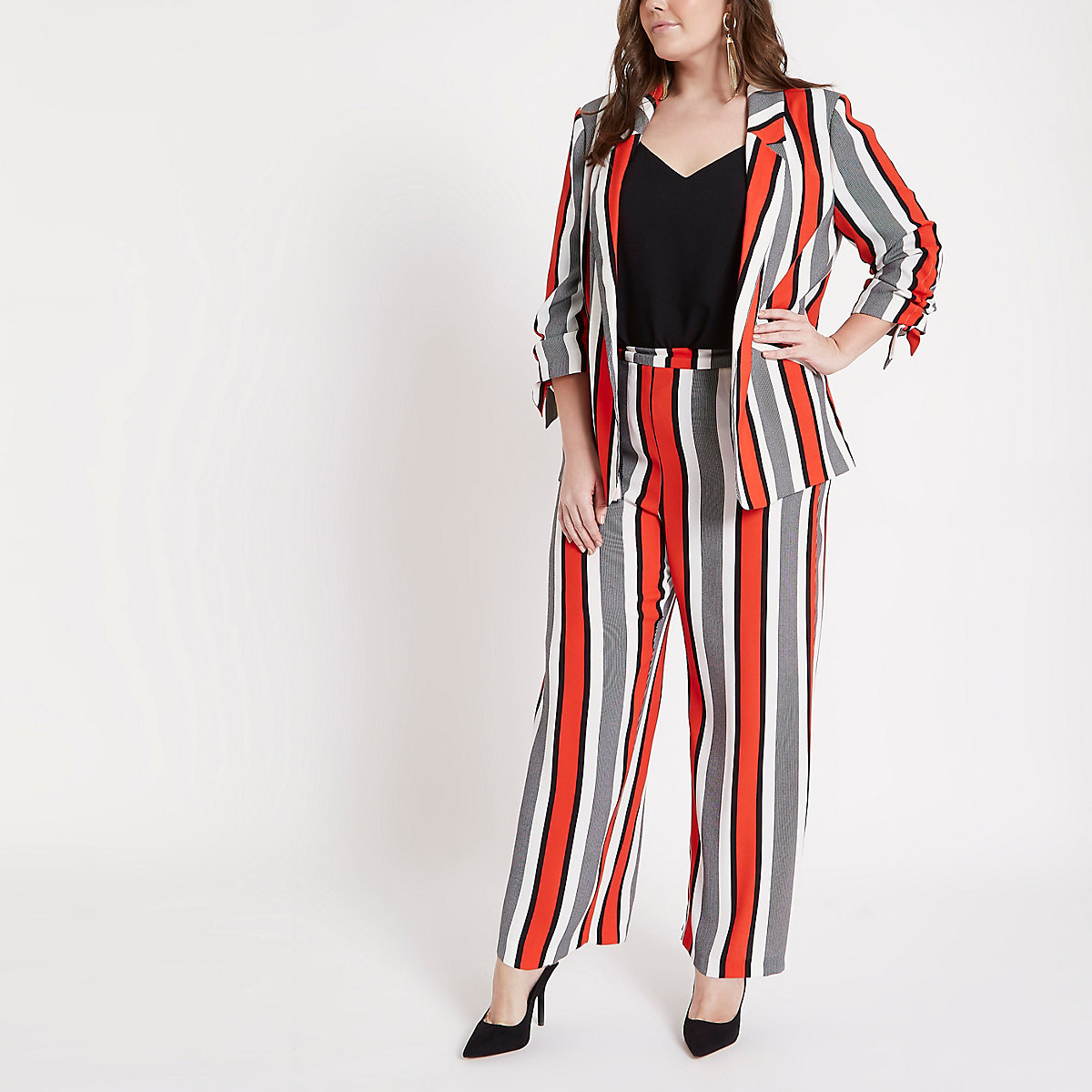 Plus red stripe wide leg pants