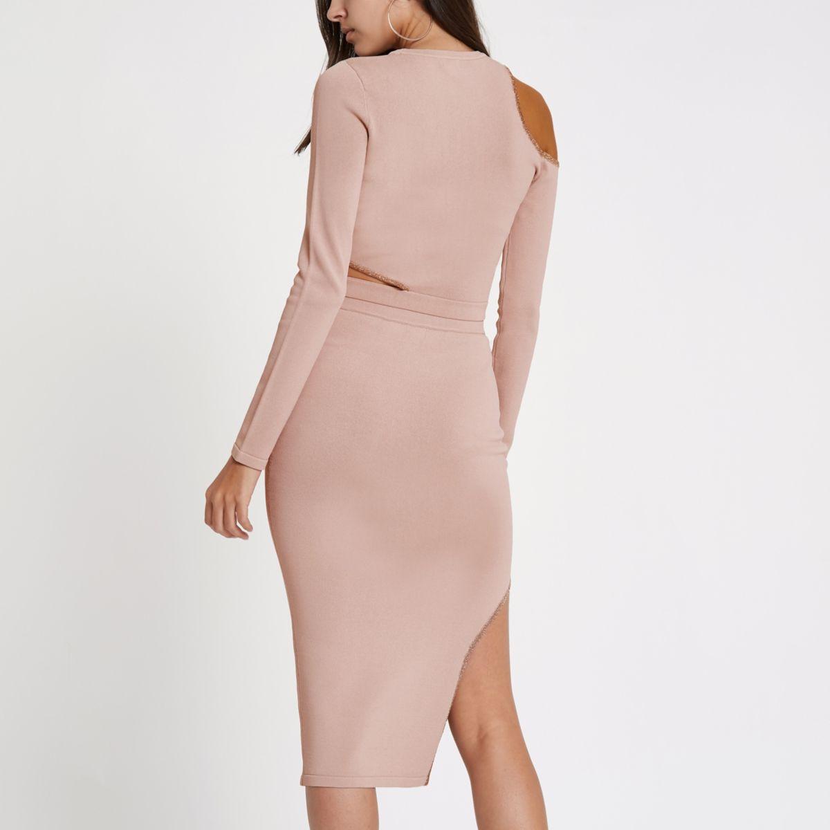 Pink cut knit out midi skirt rrzqp1