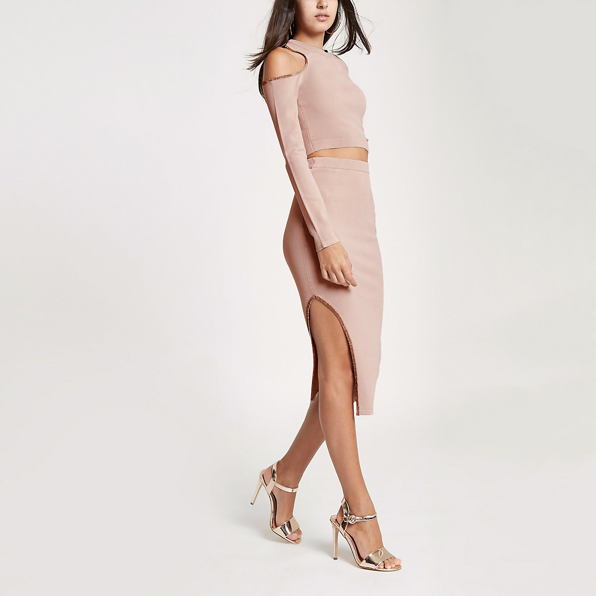 Pink knit cut out midi skirt