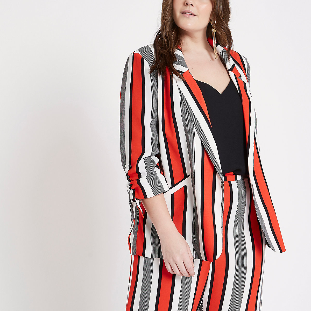Plus Red stripe ruched sleeve blazer