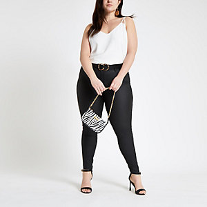 Plus white split strap cami top