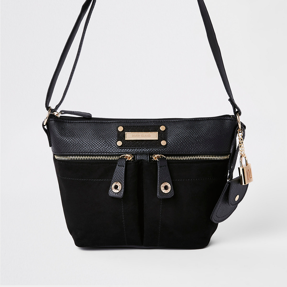 cec3d055d0 Black double pocket cross body bag Black double pocket cross body bag ...