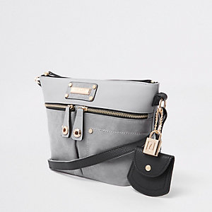 Grey double pocket cross body bag