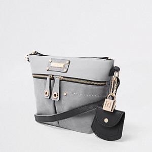 Grey double pocket cross body bag