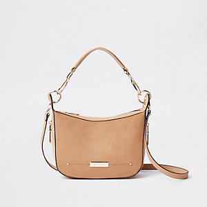 Beige scoop cross body bag