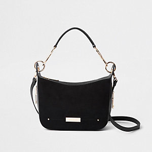 Black zip detail scoop cross body bag
