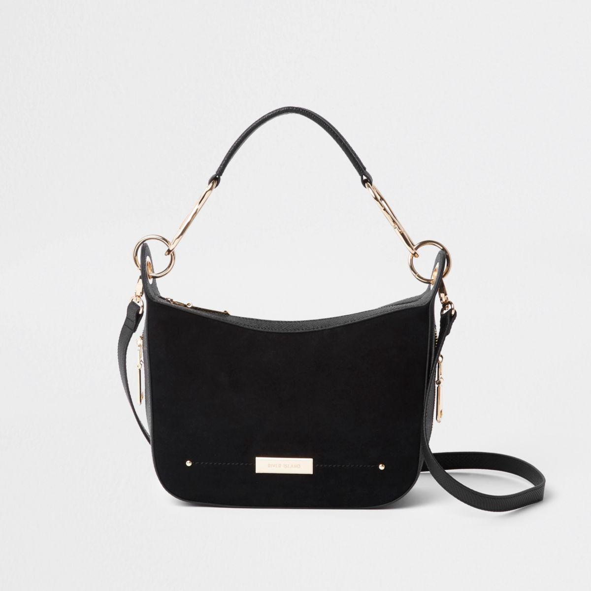 Black zip detail scoop cross body bag