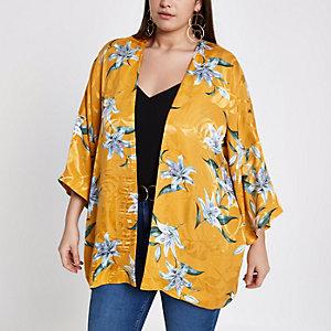 Plus – Gelber, geblümter Jacquard-Kimono