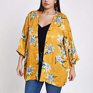 Plus – Kimono en jacquard jaune à fleurs