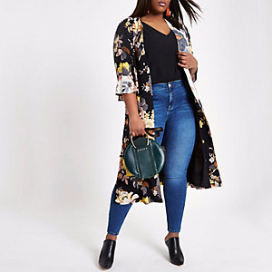 Plus black floral tie waist duster coat