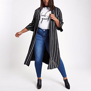 Plus black stripe print duster jacket