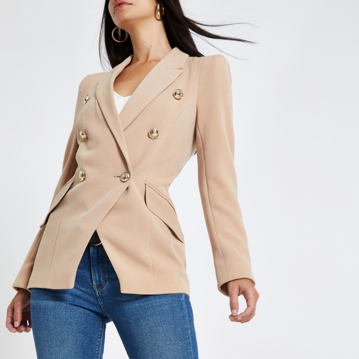 Beige double breasted tux jacket
