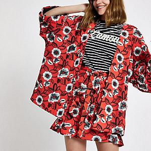 Red floral print kimono