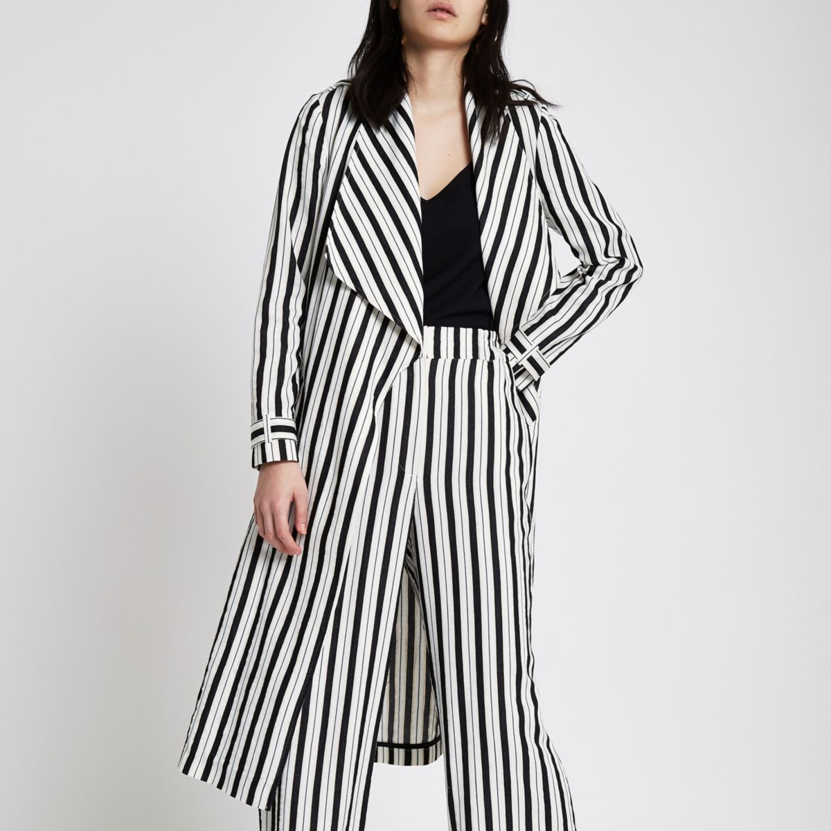 Black stripe duster trench coat