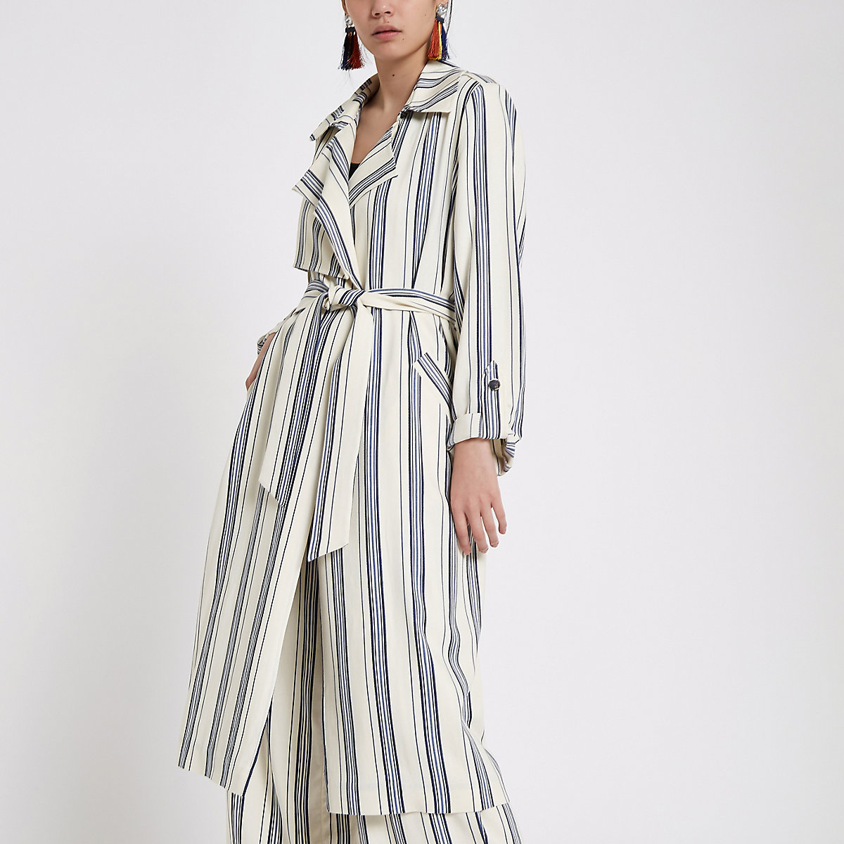Blue stripe tie waist trench coat