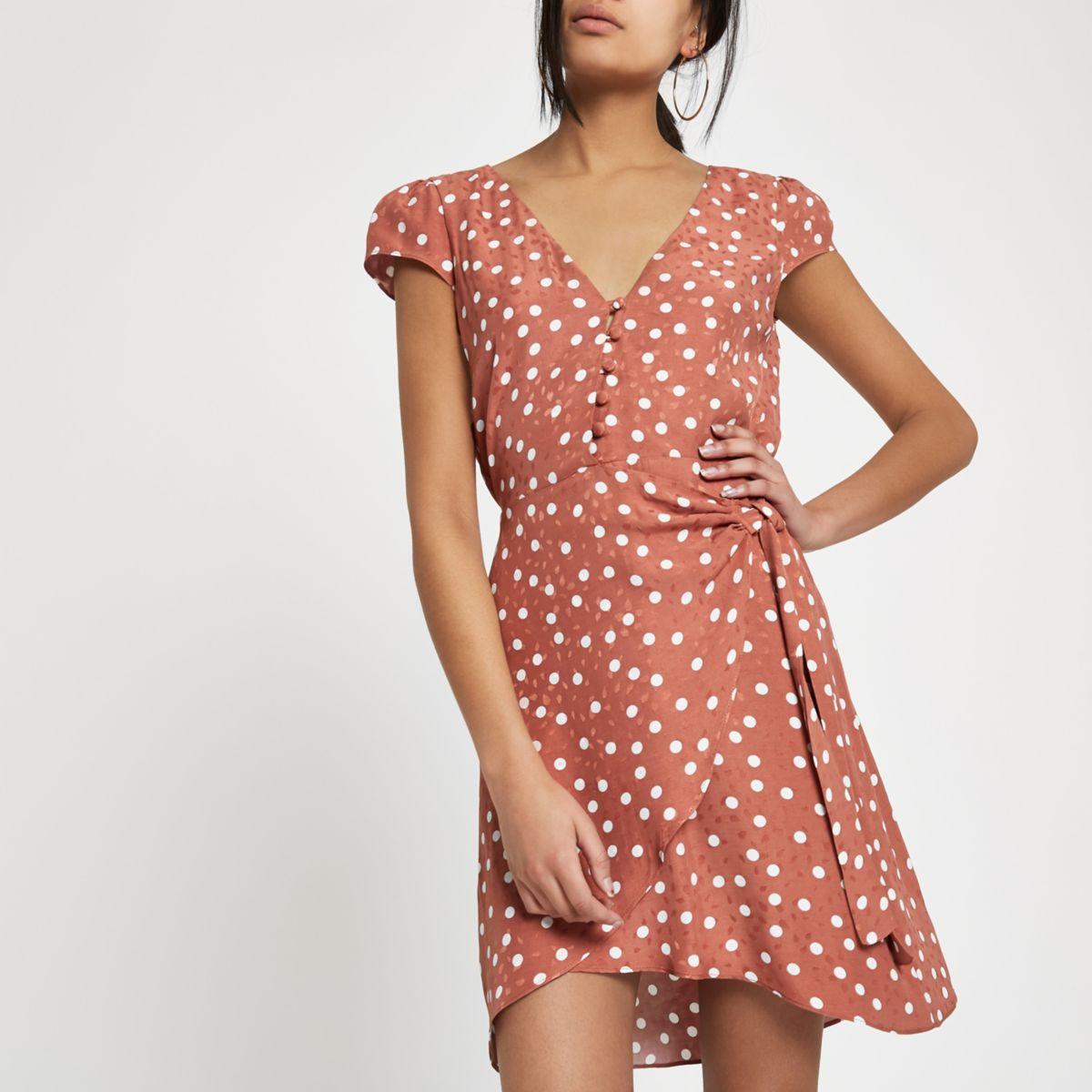 Brown polka dot cap sleeve wrap dress