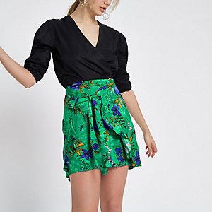 Mini-jupe à fleurs verte croisée